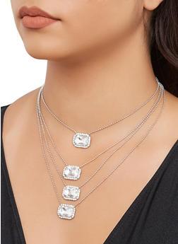 Rhinestone Charm Layered Necklace - 3138074980170