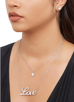 Love Heart Charm Necklace and Stud Earrings - 3138074981140
