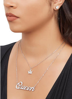 Queen Crown Charm Necklace and Stud Earrings - 3138074981141