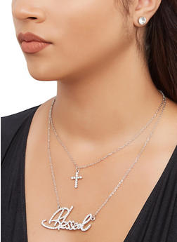 Layered Blessed Charm Necklace and Stud Earrings - 3138074981148