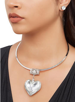 Oversized Heart Pendant Collar Necklace with Stud Earrings - 3138074981907