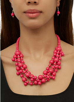 Beaded Necklace and Drop Earrings   3138074982235 - 3138074982235
