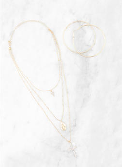 Layered Religious Necklace and Hoop Earrings - 3138074982433