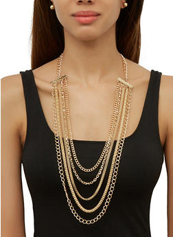 Choker Metallic Layered Necklaces with Stud Earrings - 3138074984253