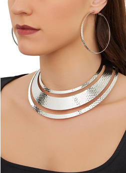 Metallic Collar Necklace and Hoop Earrings Set - 3138074987261