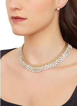 Rhinestone Metallic Collar Necklace with Stud Earrings - 3138074987741