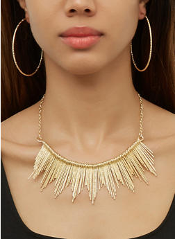 Textured Stick Fringe Necklace with Cuff and Hoop Earrings - 3138074987743