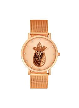 Pineapple Face Metallic Mesh Watch - 3140007008892