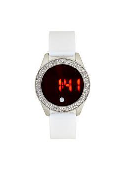Rhinestone Bezel Digital Watch - 3140007009179