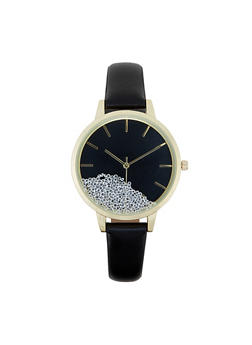 Floating Rhinetone Face Faux Leather Watch - 3140007009202