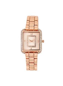 Rhinestone Metallic Square Watch - 3140007009203