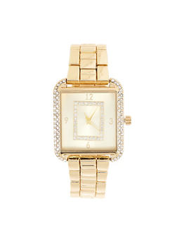 Rhinestone Metallic Square Watch - 3140007009203