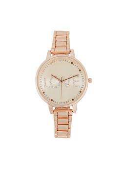 Love Rhinestone Metallic Watch - 3140007009214