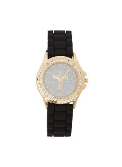 Cross Glitter Face Silicone Watch - 3140048993173