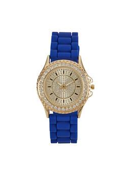 Rhinestone Face Silicone Watch - 3140048993215