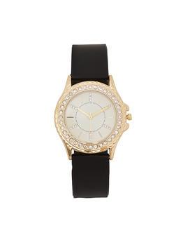 Rhinestone Bezel Smooth Silicone Watch - 3140048993268