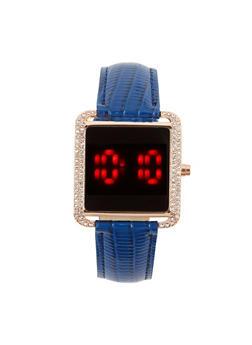 Faux Croc Square Watch - 3140048993307