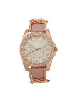 Metallic Link Rhinestone Watch - ROSE - 3140071430011