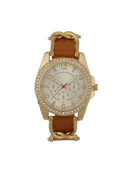 Metallic Link Rhinestone Watch - GOLD - 3140071430011
