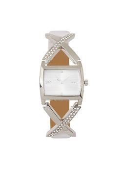 Rhinestone Detail Rectangular Watch - 3140071430147