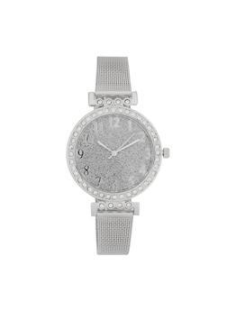 Glitter Face Metallic Mesh Strap Watch - 3140071430507