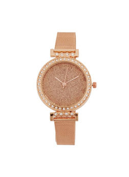 Glitter Face Metallic Mesh Strap Watch - ROSE - 3140071430507
