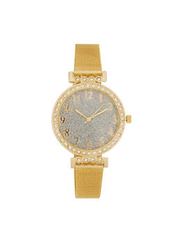 Glitter Face Metallic Mesh Strap Watch - 3140071430507