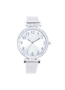 Rhinestone Bezel Metallic Mesh Strap Watch - SILVER - 3140071430577