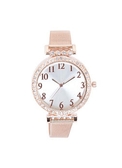 Rhinestone Bezel Metallic Mesh Strap Watch - ROSE - 3140071430577