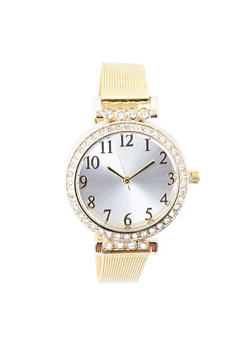 Rhinestone Bezel Metallic Mesh Strap Watch - GOLD - 3140071430577