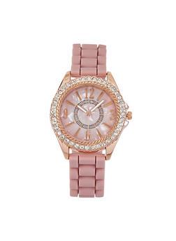 Rhinestone Bezel Watch - 3140071430588