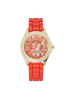 Rhinestone Bezel Watch - RED - 3140071430588