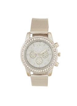 Glitter Rhinestone Metallic Watch - 3140071430647