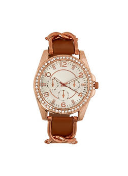 Rhinestone Metallic Link Watch - 3140071431170