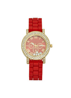Rhinestone Bezel Silicone Watch - 3140071431230