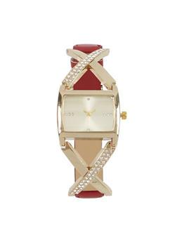 Metallic Criss Cross Detail Watch - 3140071431304