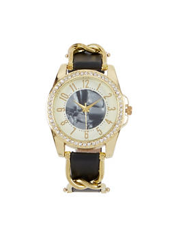 Rhinestone Bezel Faux Leather Strap Watch - 3140071431324