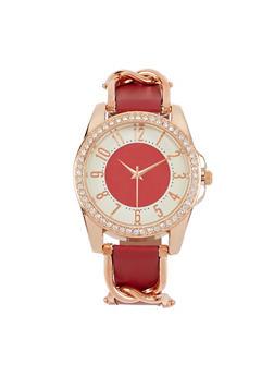 Rhinestone Bezel Faux Leather Strap Watch - 3140071431324