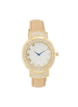 Rhinestone Bezel Faux Leather Watch - IVORY - 3140071431349