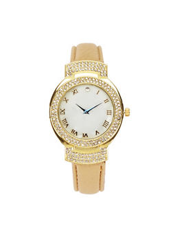 Rhinestone Bezel Faux Leather Watch - BLUSH - 3140071431349