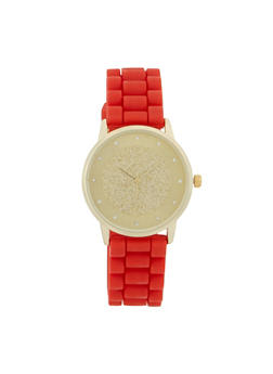 Glitter Face Silicone Strap Watch - 3140071431381