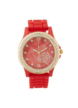 Heart Rhinestone Silicone Watch - 3140071431497