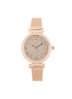 Glitter Face Metallic Mesh Strap Watch - ROSE - 3140071431587