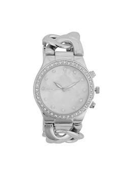 Rhinestone Bezel Chain Link Watch - 3140071431707