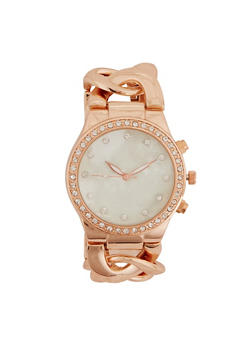 Rhinestone Bezel Chain Link Watch - ROSE - 3140071431707