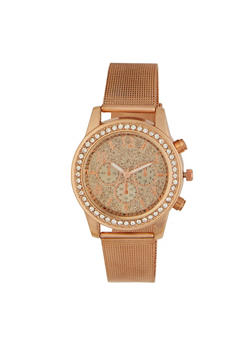 Rhinestone Bezel Glitter  Face Watch - 3140071431838
