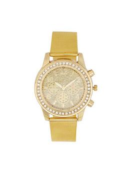 Rhinestone Bezel Glitter  Face Watch - 3140071431838