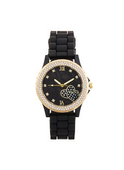 Rhinestone Heart Detail Silicone Watch - 3140071431917