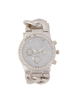 Glitter Face Curb Chain Watch - 3140071432589