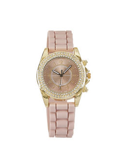 Rhinestone Bezel Rubber Strap Watch - BLUSH - 3140071432611